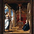 The <b>Annunciation</b> to Mary, about 1520, Netherlands