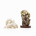 Two Ming Style <b>Jades</b> of a Horse and a Lingzhi Fungus, China, Qing dynasty (1644-1912)