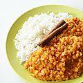 Riz parfumé et dhal de lentilles (vegan et ig bas)