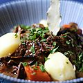 Porcini boeuf Bourguignon and steamed potatoes
