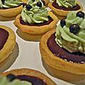 tartelettes ganache au chocolat noir/chantilly à la pistache