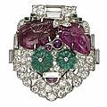 An art deco ruby, emerald and diamond 'tutti-frutti' brooch, by cartier