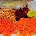Rouleaux et salades d'hiver sauce wasabi et mélisse citronelle