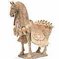 A painted pottery model of a <b>caparisoned</b> <b>horse</b>, Eastern Wei Dynasty (534-550)