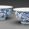 Two blue and white '<b>Squirrel</b> and grapevine' bowls, Kangxi six-character marks and of the period (1662-1722)