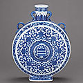 A fine and magnificent Ming-style blue and white <b>moonflask</b>, Qianlong six-character sealmark and of the period (1736-1795)