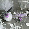 Décoration de table thème chouette en mauve et gris