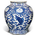 A large blue and white 'fish' jar, ming dynasty, wanli period (1573-1619)