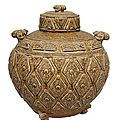 A very rare and large cover jar with plastical ram's head handles, China, Northern Dynasties (ca. 6th-<b>7th</b> cent.)
