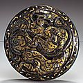 Chinese Bronze Round Lid with <b>Inlay</b>, Late Eastern Zhou Dynasty, late 4th-3rd century B.C.E.