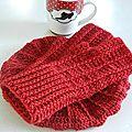 Gants et Beret rouge 3 maille relief crochet