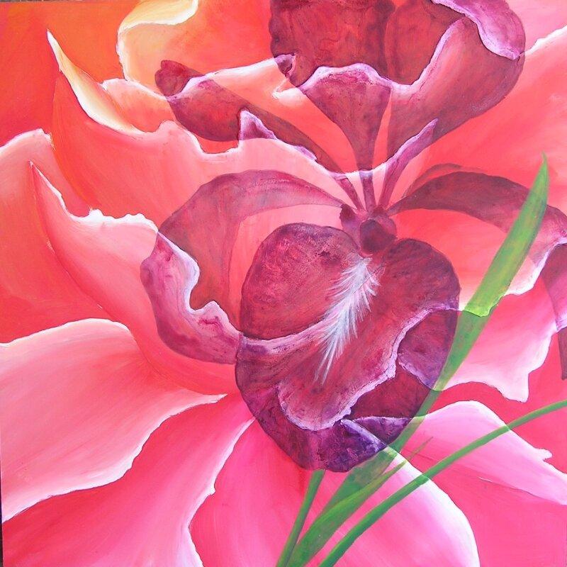 Iris violet - Acrylique sur médium - 50x50cm -2005