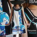 Robe trapèze Turquoise et Violet : imprimé 70's