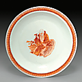 An <b>iron</b>-<b>red</b>-<b>decorated</b> dish, Kangxi period (1662-1722)