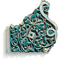 A Timurid carved pottery border tile fragment, Central Asia, Samarqand or <b>Bukhara</b>, late 14th century