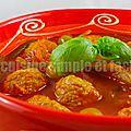 Boulettes de veau à la sauce tomate aux poivrons et olives
