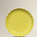 A fine and rare yellow-enamelled chrysanthemum dish, Yongzheng six-character mark and of the period (1723-<b>1735</b>)