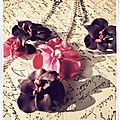Parure orchidée rose nacrée et mauve