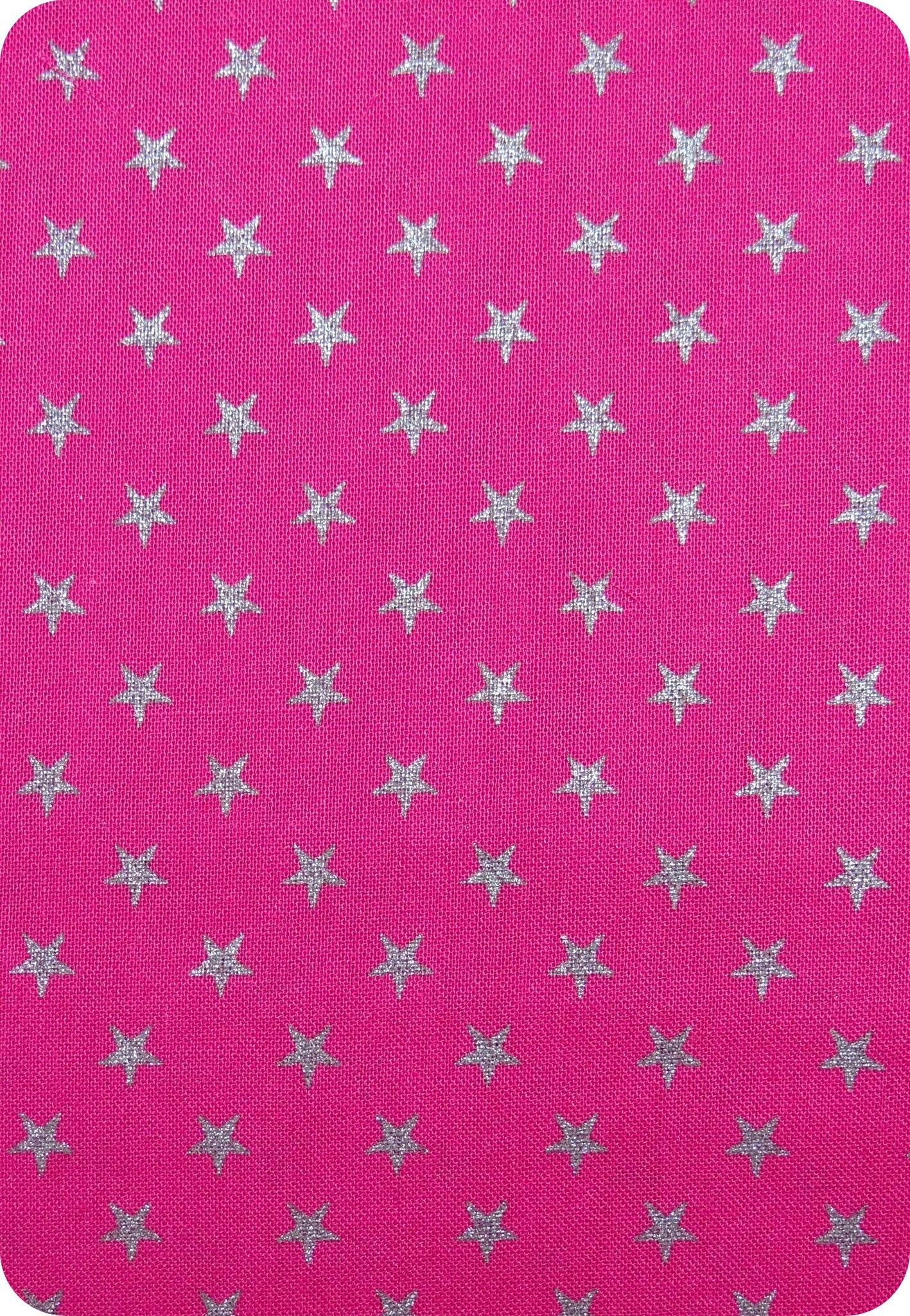 Tissu France Duval fuchsia / étoiles argent
