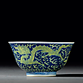 A fine yellow-enamelled blue-ground '<b>dragon</b>' <b>bowl</b>, Guangxu six-character mark and of the period (1875-1908)