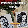 Marque-Place <b>caricatures</b> BD pour un mariage
