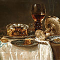 <b>Willem</b> <b>Claesz</b>. <b>Heda</b>, Olives in a blue and white porcelain bowl, a roemer, wine glasses, an overturned silver tazza and a meat-pi