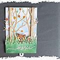cARTe animée : petit renard joue à cache cache dans la forêt