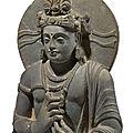 Sculpture de Boddhisatva en schiste gris, Art Gréco-bouddhique du Gandhara, IIe-IIIe siècle