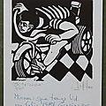 Osvaldo Jalil , le tricycle, gravure sur bois.P1270977
