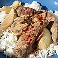 Boeuf strogonov - champignons frais, petits oignons, crème et paprika