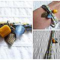 Bracelets bleu et jaune