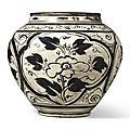 A large 'Cizhou' white-ground black-painted 'floral' jar, Yuan–Ming dynasty