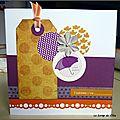 Une carte en violet et orange et mon beau sapin en blanc et or