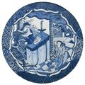 A blue and white 'Kraak' plaque, Ming Dynasty, Wanli Period