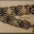 Bracelet kaki et bronze twin beads