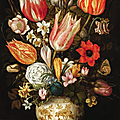 Cristoffel <b>van</b> den Berghe, Tulips, roses, narcissi, daffodils, crocuses, an iris, a poppy and other flowers in a gilt mounted...