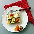 Clafoutis courgettes, tomates cerises & chèvre
