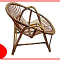 Fauteuil coquille en rotin vintage <b>1960</b>