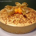 Gâteau amandine au caramel, sauce chocolat