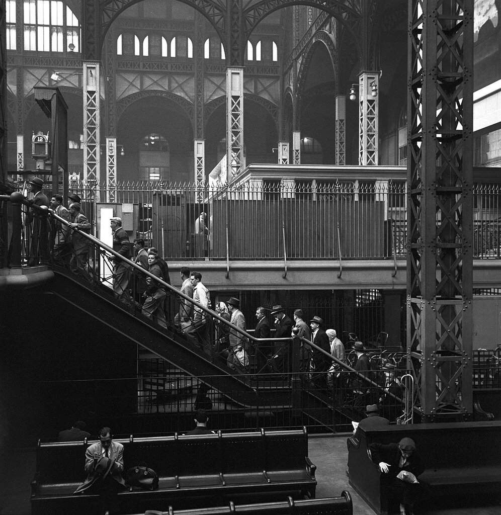 new york city, april 1958, penn station by nick dewolf photo archive