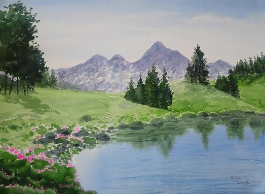 Paysage Montagneux - Aquarelle