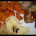 Boulettes d'agneau cumin-coriandre et leurs carottes au cumin.