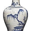 A fine blue and white '<b>Landscape</b>' <b>vase</b>, Qing dynasty, Kangxi period (1662-1722)