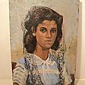 Ancien tableau portrait femme à la mantille espagne orientalisme.