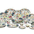 A famille rose <b>Tobacco</b> <b>leaf</b> 'exotic pheasants and squirrel' part dinner service, Qianlong period (1736-1795)