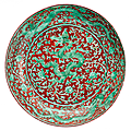 Fine underglaze iron red and green dragon dish. China, Zhengde mark and period. Photo AUKTIONSHAUS KAUPP GMBH