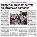 Articles parus dans la presse de ce jour suite aux deux <b>journées</b> de balade patrimoniale sur la commune 19/20 septembre 2020: