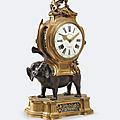 Pendule à l'éléphant en <b>bronze</b> <b>patiné</b> et <b>doré</b>, XVIII° siècle
