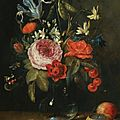 <b>Jan</b> <b>Van</b> <b>Kessel</b> (Antwerp 1626 - 1679), Still life with flowers in a glass vase, together with a red admiral butterfly, a bee...