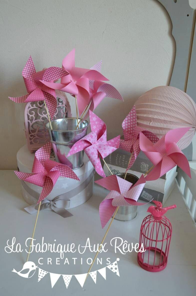 moulins à vent rose pâle rose vif blanc mariage photobooth bapteme baby shower décoration chambre enfant bébé fille
